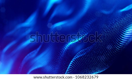 science fiction background of glowing particles with depth of field and bokeh. Particles form line and abstract surface grid. 3d rendering V36 blue #1068232679