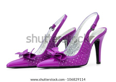 Female shoes on white background Royalty-Free Stock Photo #106829114