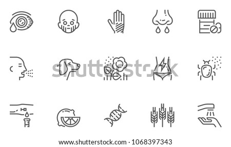 Allergy and Allergens Vector Line Icons Set. Allergy to Animal Hair, Food and Pollen, Skin Itching, Increased Lacrimation. Editable Stroke. 48x48 Pixel Perfect.