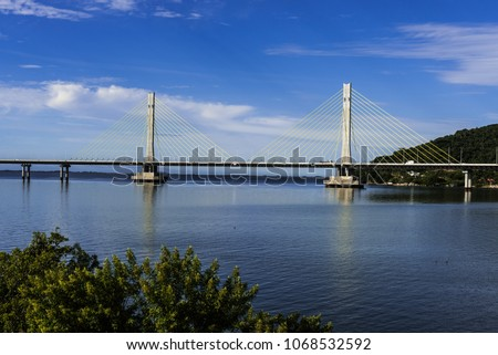 Anita Garibaldi bridge located in the city of Laguna in the southern state of Santa Catarina Brazil, structure with 2815 meters in length Royalty-Free Stock Photo #1068532592