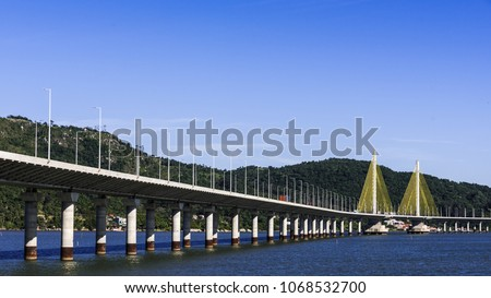 Anita Garibaldi bridge located in the city of Laguna in the southern state of Santa Catarina Brazil, structure with 2815 meters in length Royalty-Free Stock Photo #1068532700