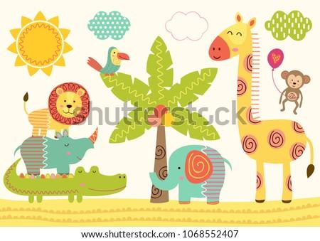 baby jungle animals near the palm tree - vector illustration, eps  #1068552407