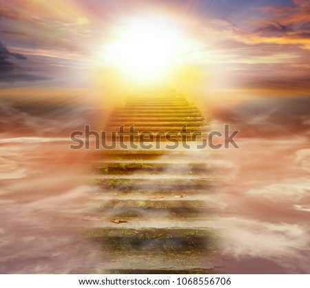 Light in dark sky . Stairs in sky .  Religion for the person . Way to heaven  .  Religious background .  Way to success  #1068556706