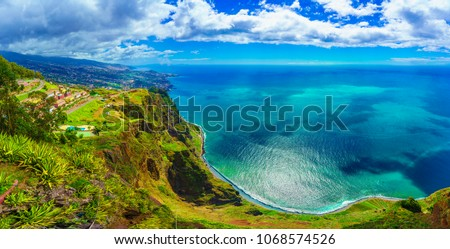Aerial view from the highest Cabo Girao, Madeira island, Portugal  #1068574526