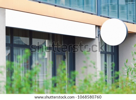 Blank outdoor commercial sign, company signage mockup to add text or logo, real life picture