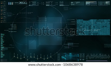 Advance motion graphic futuristic user interface head up display screen with digital map data telemetry information display for digital background computer desktop display screen