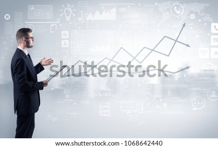 Adviser standing and presenting economical results of a global company #1068642440