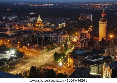 Leipzig at night Saxony Germany City Top View Sunset With City Lights #1068644243