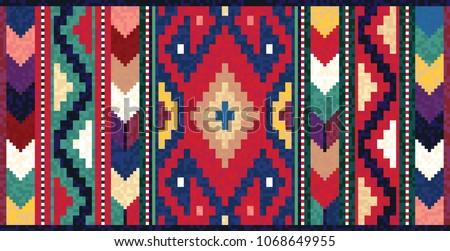 Colorful mosaic oriental kilim rug with traditional folk geometric ornament. Vector 10 EPS illustration. #1068649955