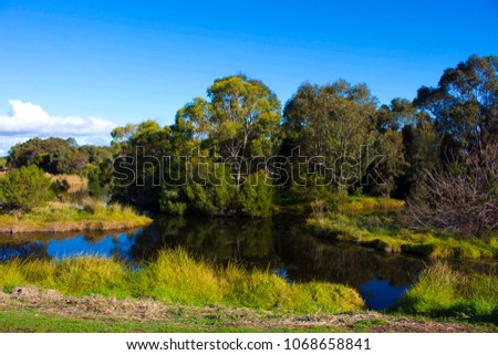 Beautiful tranquil scenic view  of the landscape from  the cycle way  at the Big Swamp Wetlands  in Bunbury Western Australia on a fine late winter day. #1068658841