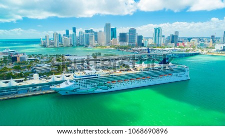 USA. FLORIDA. MIAMI BEACH. APRIL, 2018: Cruise ship entrance to Atlantic Ocean, from Miami port.    #1068690896