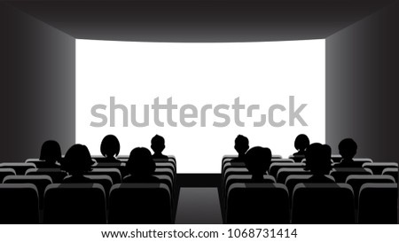 People in the cinema on the background of the screen. #1068731414