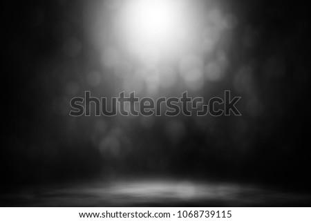 White spotlight bokeh smoke stage nightclub entertainment background. #1068739115