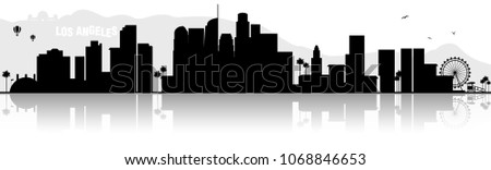 Los Angeles skyline silhouette black