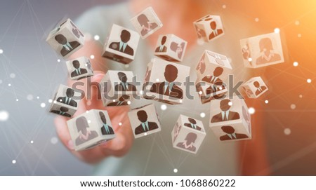 Businesswoman on blurred background choosing candidate for a job 3D rendering #1068860222