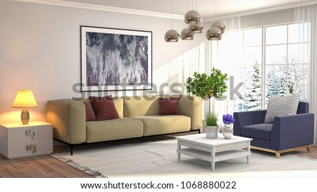 Interior living room. 3d illustration #1068880022