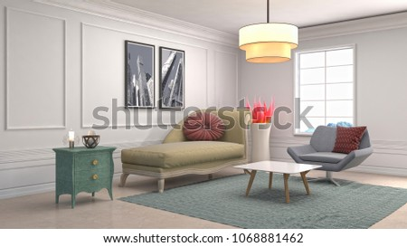 Interior living room. 3d illustration #1068881462
