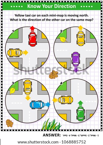 Map skills learning and training activity page or worksheet: Yellow taxi car on each mini-map is moving north. What is the direction of the other car on the same map? Answer included.