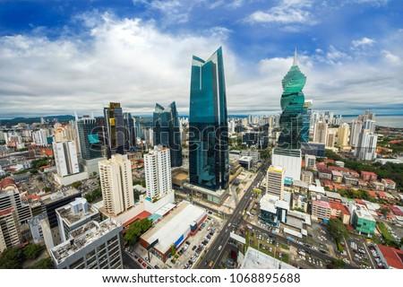 Aerial view of the modern skyline of Panama City , Panama #1068895688