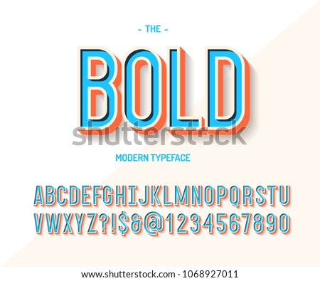 Bold font colorful 3d style. Modern typeface trend typography. Cool alphabet for party poster, t shirt, promotion, label, special offer. Vector Illustration 10 eps #1068927011