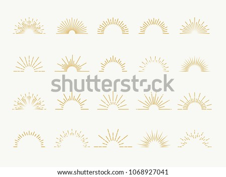 Sunburst set gold style isolated on white background for logo, tag, stamp, t shirt, banner, emblem. Vector Illustration 10 eps