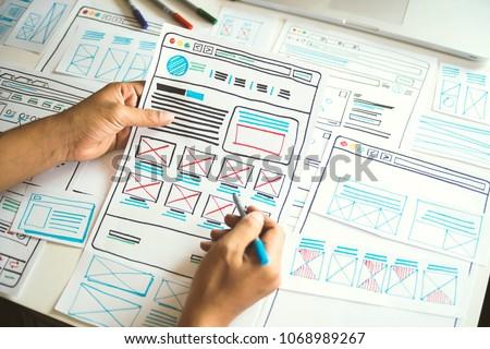Website designer Creative planning application development  draft sketch drawing template layout framework wireframe design studio . User experience concept . #1068989267