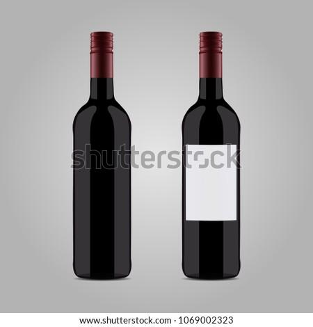 vector black wine bottle on background white #1069002323