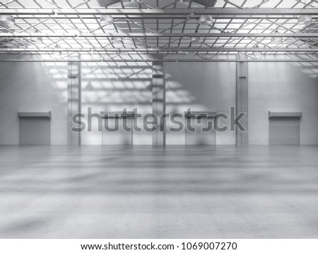 3d rendering empty factory interior with pendant lamps #1069007270