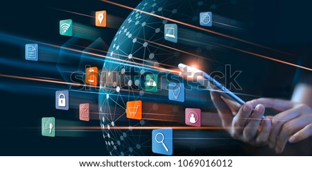 Businessman using mobile payments online shopping and icon customer network connection on virtual screen, m-banking and omni channel  #1069016012