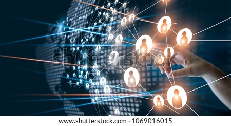 Hand of touching network connecting the human dots icon in business project management. Teamwork organization and brainstorm concept Royalty-Free Stock Photo #1069016015