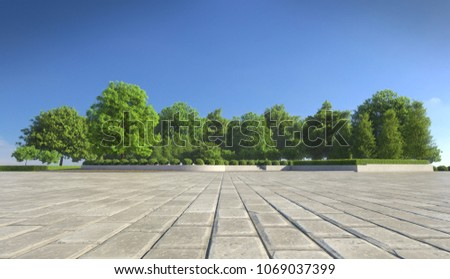 Empty concrete tiles with comfortable garden with blue sky, nice street pedestrian with beautiful park #1069037399