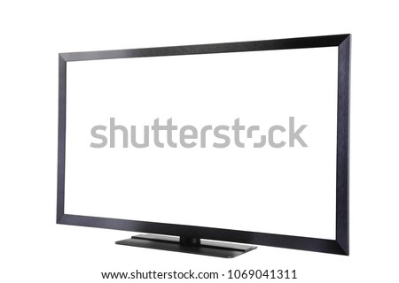 Modern stylish TV, screen is isolated for text or image, copy space, white background #1069041311