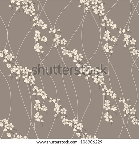 Beautiful vector seamless pattern with sakura flowers and lines
