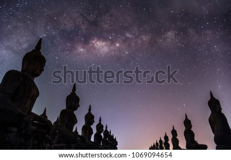Milky way galaxy with buddha stature landscape nature dark filter style, Nakhon Si Thammarat province Thailand, Public in thailand #1069094654