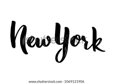 New York hand-lettering calligraphy. Hand drawn brush calligraphy. City lettering design. Vector illustration.