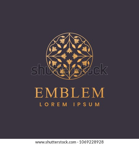 Floral logo. Flower icon. Floral emblem. Cosmetics, Spa, Beauty salon, Decoration, Boutique logo. Luxury, Business, Royal Jewelry, Hotel Logo. Interior Icon. Resort and Restaurant Logo. #1069228928