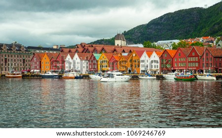 BERGEN, NORWAY - 25 JUNE, 2015: Sail Ships and yachts in the harbor of Bergen, Norway on 25 June 2015. Bergen is the second largest city in Norway. #1069246769