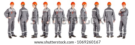 Full length portrait of a male builder with helmet over white wall background. repair, construction, building, people and maintenance concept. #1069260167