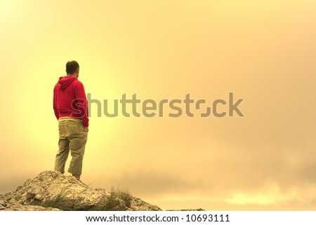 man in meditation on top of the mountain at sunset #10693111