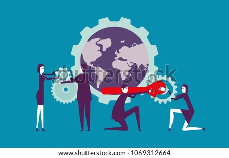 Globe business teamwork. Vector illustration people and partner team business concept.