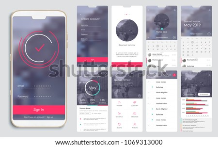 Design of the mobile application, UI, UX. A set of GUI screens with login and password input, home page, news feed, rating and statistics, settings and payment screens.