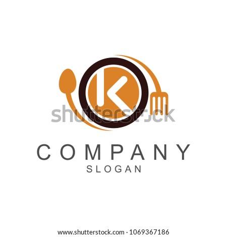 Restaurant Logo Template, Spoon + Fork + Plate + Letter K, Company Name Initial  Logo Design #1069367186