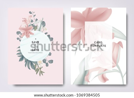 Botanical wedding invitation card template design, pink lily flowers and leaves with blue frame on pink background, vintage style