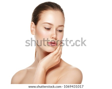 Young girl with beauty healthy skin, woman with fresh skin and natural mekeup, female cosmetic portrait #1069431017