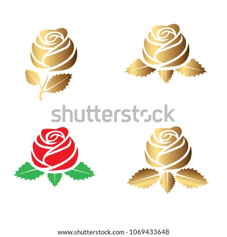 Beauty rose logo, sign, symbol for beauty salon, spa salon, beauty shop, flower shop. Flat modern style, simple silhouette. Red, green and gold colors