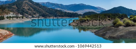 Aoos Springs Lake in the Metsovo in Epirus. mountains of Pindus in northern Greece. Techniti Limni Aoou Lake #1069442513
