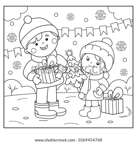 Coloring Page Outline Of children with gifts at Christmas tree. Christmas. New year. Coloring book for kids