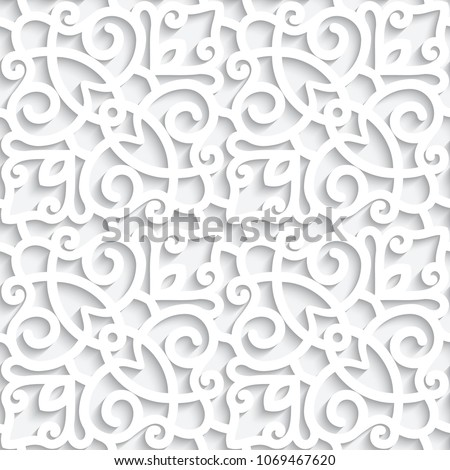 White lace texture, seamless pattern with cutout paper swirls, ornamental vector background