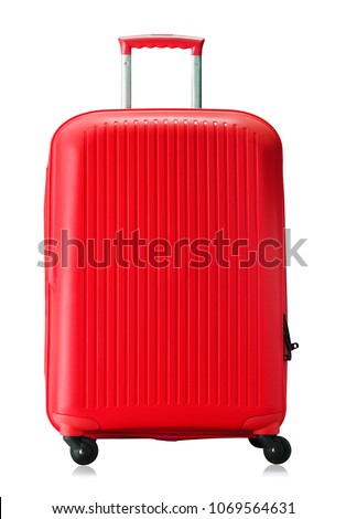 Travel red suitcase isolated on white background.  #1069564631