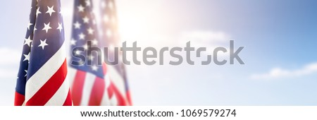American flag for Memorial Day, 4th of July or Labour Day Royalty-Free Stock Photo #1069579274